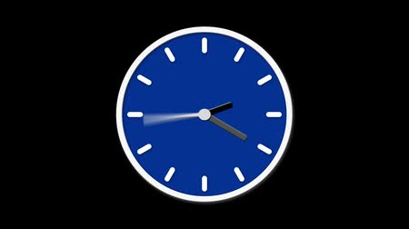 kleszcz : Animated clock face counting down. Digital animation of blue, clock ticking on black background Wideo