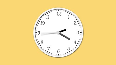 tick : Animated clock face counting down. Digital animation of white clock ticking on yellow background