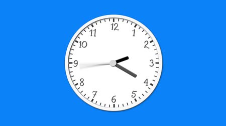 kleszcz : Animated clock face counting down. Digital animation of white clock ticking on blue background