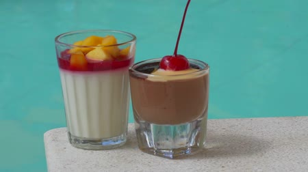 servido : Closeup of delicious desserts near swimming pool. Summer, travel, promotional morning breakfast in the hotel concept Stock Footage