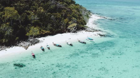 barcos : Aerial drone view of beautiful tropical Poda Island in Thailand