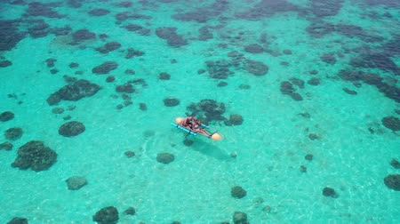 canoe kayak : Aerial drone view of couple with dog in kayak over amazing crystal clear sea water
