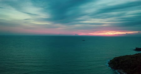 antenas : Aerial hyper lapse tracking over the sea during beautiful sunset