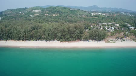 trópicos : Aerial drone view of tropical Layan Beach area in Phuket, Thailand Vídeos