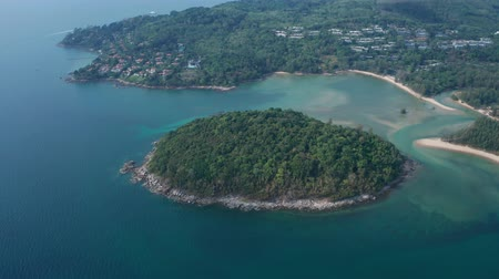 recife : Aerial drone view of small island near tropical Layan Beach area in Phuket, Thailand Stock Footage
