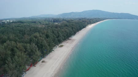 recife : Aerial drone view of tropical Layan Beach area in Phuket, Thailand Stock Footage