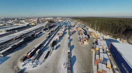 distribution lectrique : aerial view: area warehouse with railway containers