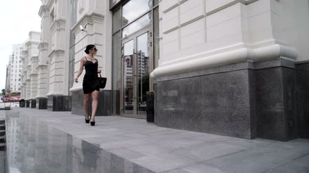 брюнет : The stylish and attractive girl walks through the city along shops