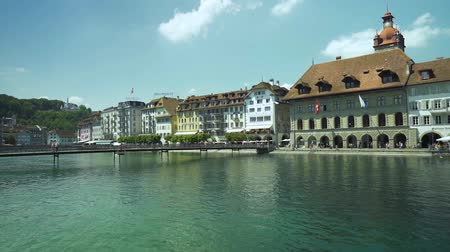 suisse : lucerne switzerland cityscape building, lake and bridge Stock Footage