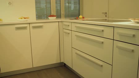 drawer : Design of modern white kitchen in white flat cabinets with quartz counter top in slow mo. As a kitchen design concept decorative under cabinet lights, food and plats are included.