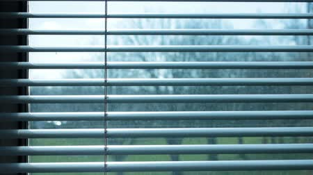 persiana : Large window blinds opening showing a cold wet day
