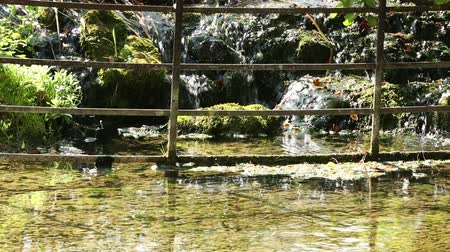 waterfall cascading into pool : Water cascading down rocks into a large pool in Summer