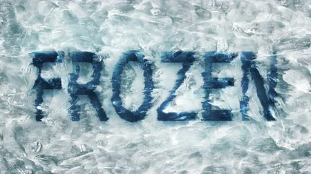 congelado : Frozen text appearing in a frozen ice block rising to the surface as a conceptual idea