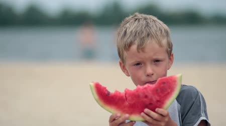 sağlıklı beslenme : Litttle boy eating delicious watermelon on beach Stok Video