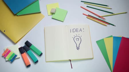 borracha : Word Idea and light bulb written on white note pad