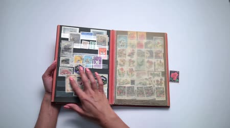 filatelista : Woman looking through old stamps collection Stock mozgókép