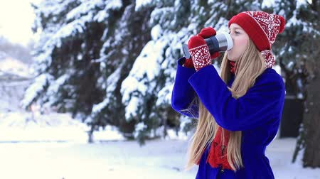 cobalt : Lovely woman in winter clothes enjoying hot drink Stock Footage