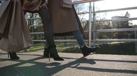 ботинок : Side view of females legs walking on bridge Стоковые видеозаписи