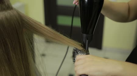 сушка : Hairstylist drying clients hair in beauty salon