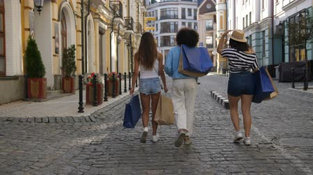Back view of three diverse shopper females walking