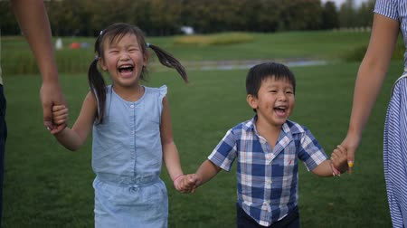 Portrait of laughing asian siblings walking in park