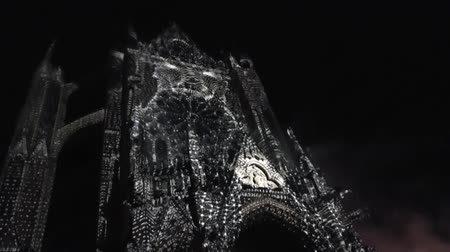 conta : Dragon projected with digital mapping on the cathedral of Metz, France