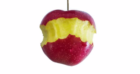 absence : a red apple is eaten up to the Griebs stop motion video Stock Footage