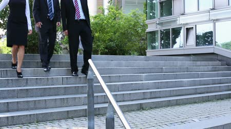 aşağı : Three businesspeople walking down stairs and talking to each other Stok Video