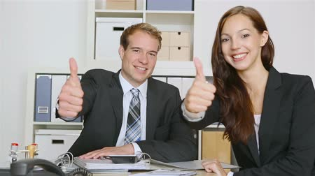 Поздравляю : Happy business people holding thumbs up for congratulations (Full HD)