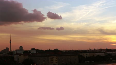 berlin skyline : Time lapse of sunset in Berlin sky with the TV tower and clouds (Full HD)