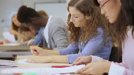 mais alto : Many students learning together in a college classroom (Full HD) Vídeos