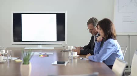 sitting room : Two business people waiting in conference room for a meeting (Full HD)