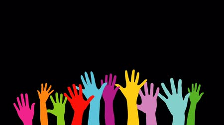 kezek : Group of raised colorful hands welcoming others and waving Full HD