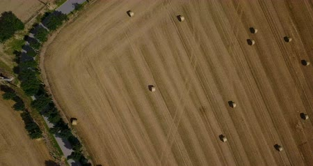 palheiro : Aerial spinning view of hay field at countryside area Vídeos