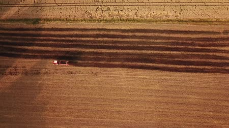 bajor : Birds eye still shot of red tractor driving on a field in Germany during summer (HD) Stock mozgókép