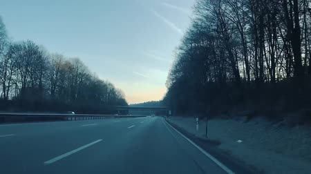 POV of car on highway in Germany in winter (Full HD) Stockvideo