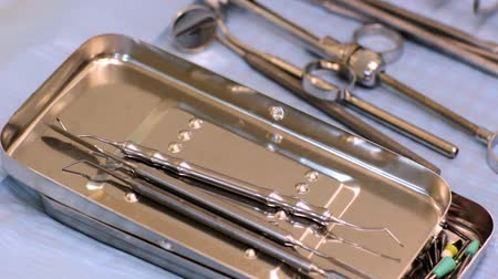 dişçi :  Dental instruments Stok Video