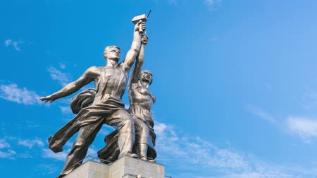 sovyet : 4k timelapse of famous soviet monument Rabochiy i Kolkhoznitsa ( Worker and Kolkhoz Woman OR Worker and Collective Farmer) of sculptor Vera Mukhina, Moscow, Russia. Made of in 1937.