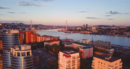 элита : Aerial view of Vladivostok city center, Egersheld peninsula. Russia. Residential district. The Golden Horn Bay (sea of ??Japan) and the Golden Bridge are on the background. Beautiful autumn sunset Стоковые видеозаписи