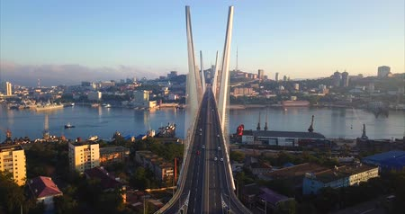 dia : Static aerial view of the Golden Bridge (built in 2012) and cars driving across it. Its a cable-stayed bridge across the Zolotoy Rog harbor. Vladivostok, Russia. Sunny autumn day Stock Footage