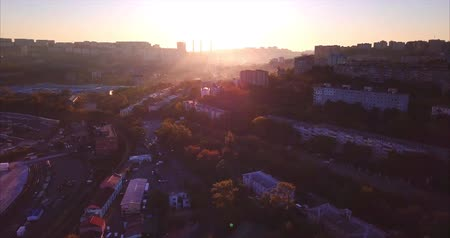 Aerial view of Vladivostok city at sunrise, Russia. Its a city and administrative center of Primorsky Krai, located around Golden Horn Bay, not far from Russias borders with China and North Korea