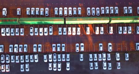 Aerial top view of new cars. Vladivostok, Mazda Sollers joint venture parking, Russia