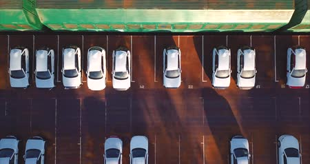 auto parking : Aerial top view of new cars. Vladivostok, Mazda Sollers joint venture parking, Russia