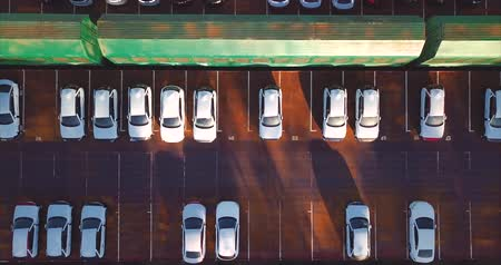 lâmina : Aerial top view of new cars. Vladivostok, Mazda Sollers joint venture parking, Russia