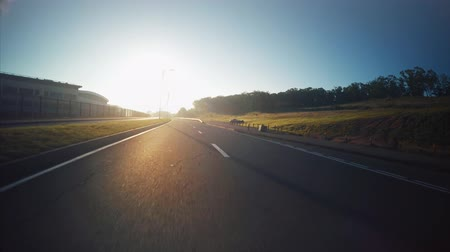 View from the car: driving along the road in Vladivostok, Russia. Sunny morning