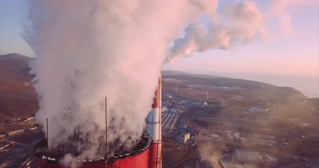 Close view of Central Heating and Power Plant. Vladivostok, Russia. Sunrise. Aerial Vídeos