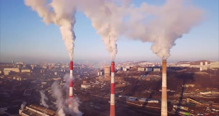 Great aerial view of the three high. Vladivostok is on the background, Russia. Sunrise