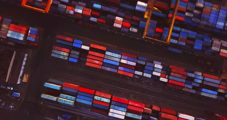 nakládané : VLADIVOSTOK, RUSSIA-DECEMBER 2, 2017: Top spinning ascending aerial view of many colorful containers in Vladivostok Commercial port