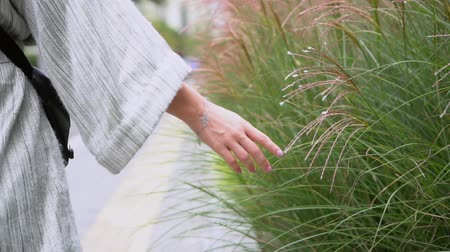 Beautiful woman holds her hand over a large ornamental grass. Buddhist cityscape. Video background calm themes