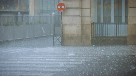 hail : Extreme weather hail rain storm on the streets of Paris
